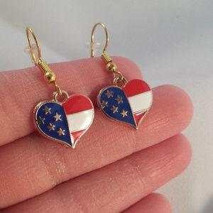 Gold Star Heart Earrings Hypoallergenic Hooks